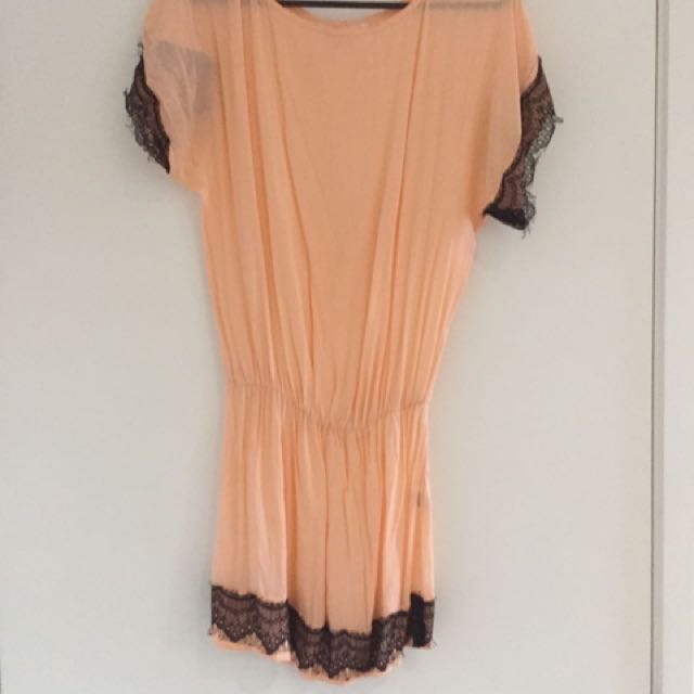 PALMA Salmon Cocktail Dress With Black Lace Sleeves