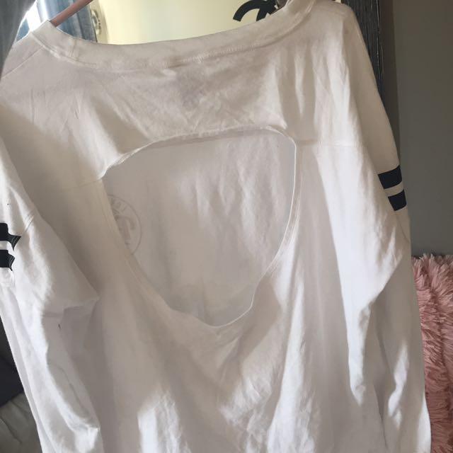 PINK long Sleeve Open Back Shirt