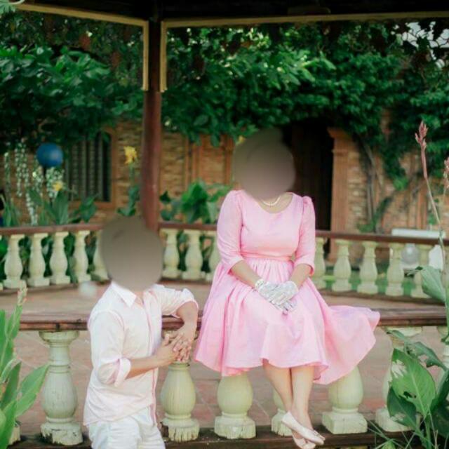 Pink Polka Dress Vintage Style For Prenup Size XL