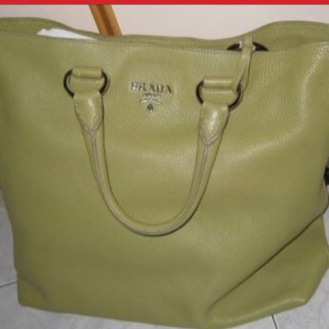 20e1efbf0e76 Prada Olive Green Leather Bag With Sling, Luxury, Bags & Wallets on ...