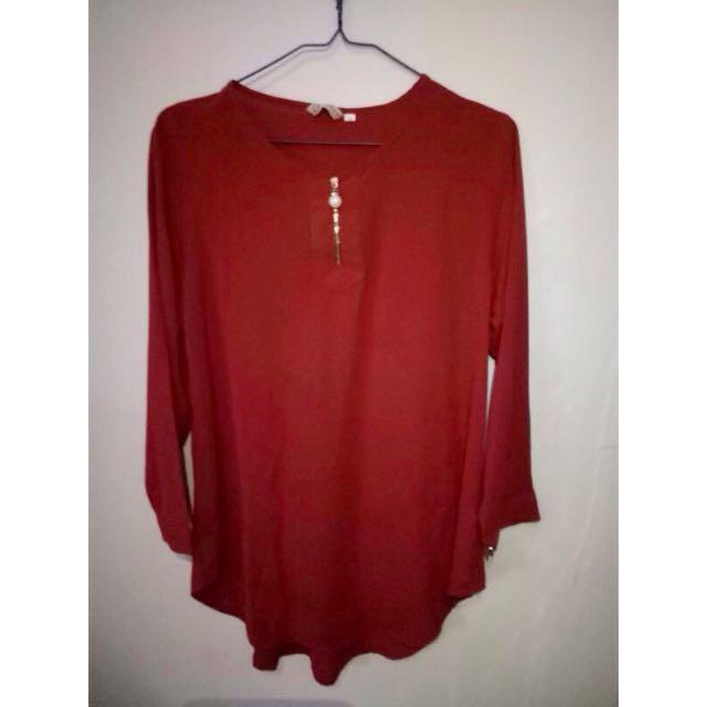 Preloved Blouse Warna Merah Bata No Deffect