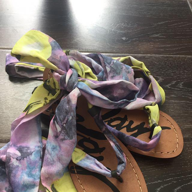 全新Replay夏日超好搭緞帶平底皮涼鞋