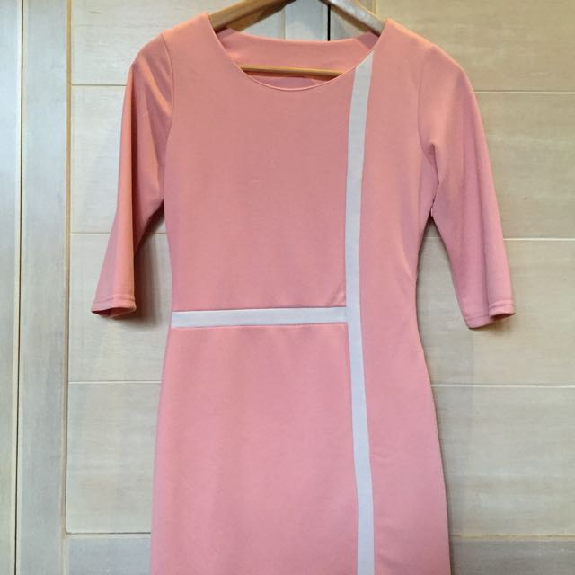 Salmon Pink Bodycon Dress