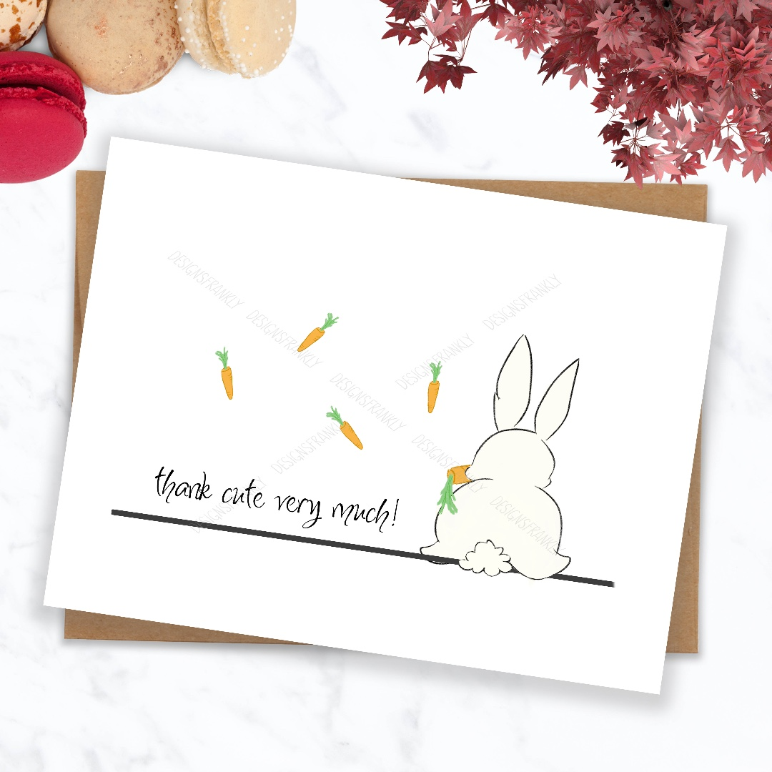 Thank You Card Funny Cute Bunny Thank You Greeting Card Design