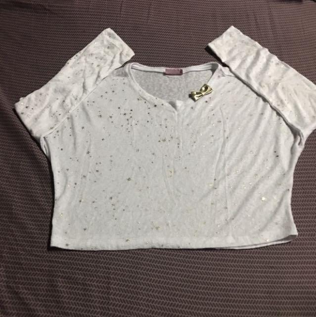 White Crop Top With Star Design