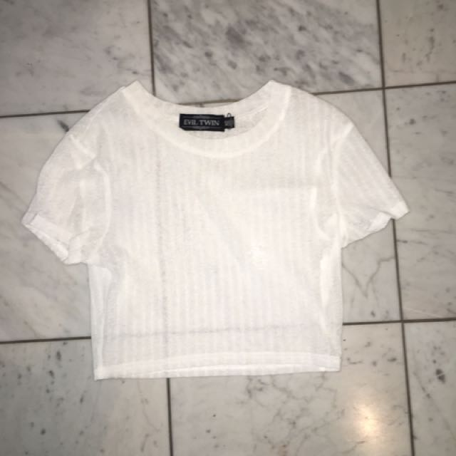 White Ribbed Mesh Top Size S