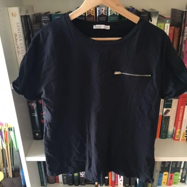 Zara Zipper Tee Shirt
