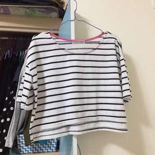 白色條紋短版短袖