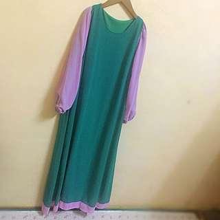 Green + Pink Long Dress