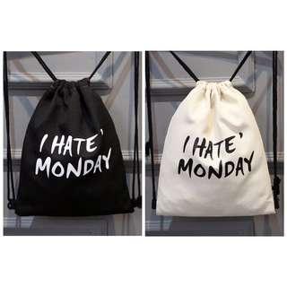 討厭星期一💔抽繩帆布後背包