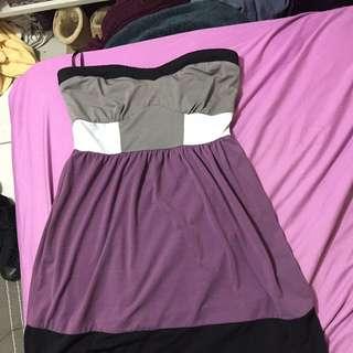Bebe Strapless Colour Block Dress