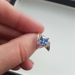 9ct Gold Created Blue Sapphire & Diamond Ring