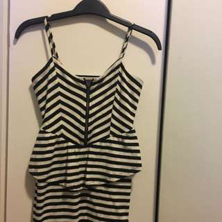 XS Sparkle & Fade Striped Peplum Dress