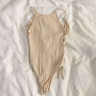 Nude One Piece / leotard / Body Suit - New - S
