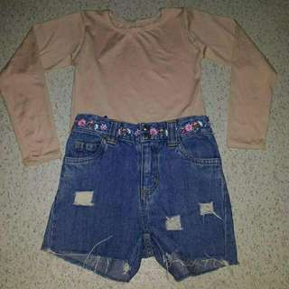 carter's ripped short and longsleeve set