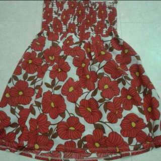 Chocolate Factory Red Floral Tube Top