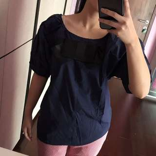 Navy Bow Top
