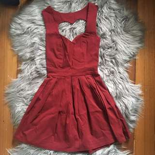 Paper Hearts Burgundy Love Heart Back Cutout Dress (8)