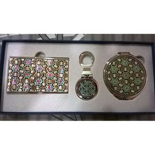 Korean Lacquer Ware Business Card Case, Keychain & Mirror Set