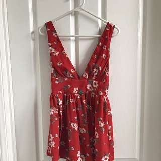 Morning mist princess Polly red floral plunge playsuit