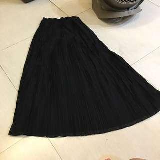 黑色雪紡百折裙