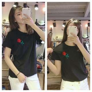 韓國刺繡棉t