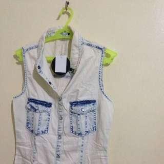Denim Bleach Wash Sleeveless Dress