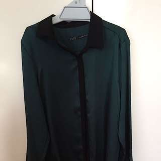 Zara Silky Forest Green And Black Blouse