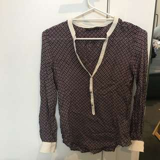 Zara Mulberry Silk Blouse Size XS