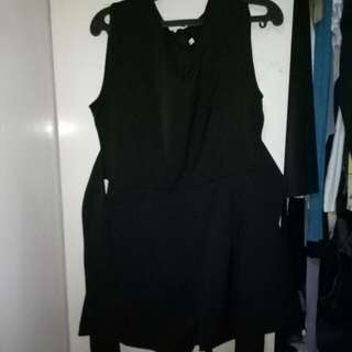 Black. Romper, Jumpsuit With Belt