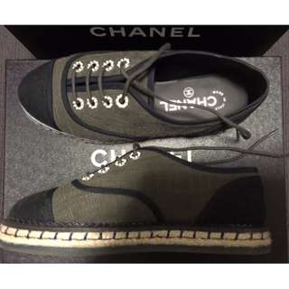 Chanel Lace Shoes - Dark Green & Black