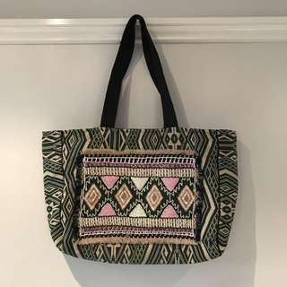Hand Beaded Tote Bag