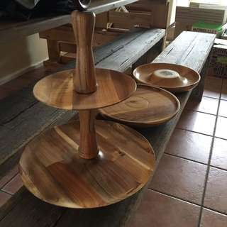 Wooden 3 Piece Hand Made Platter Set