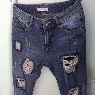 Destroyed Boyfriend jeans/ Denim sobek