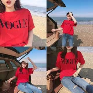 Vogue短t上衣歐美韓妞IG簡約風大推款