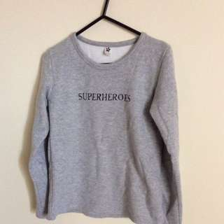 Superheroes Grey Sweater (Korean Clothing)