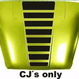 JEEP CJ5 CJ7 CJ8 Blackout stripes vinyl hood decals Scrambler Renegade