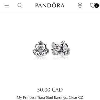 Pandora My Princess Tiara Stud Earrings