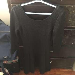 Black Backless Bodycon Skater Dress