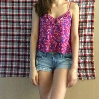 Forever21 Sexy Fuchsia floral print Top