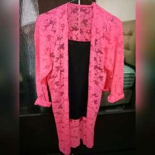 Outer Brokat Halus Pink Neon