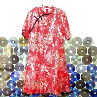 Red Orange Floral Flare Cheongsam