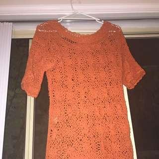 Orange Flower Crochet Boho Top