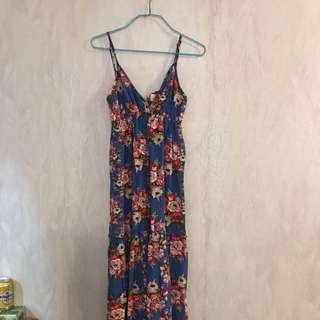 maple藍色花吊帶v領長裙