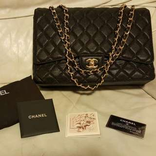 Chanel Maxi Caviar Leather Gold Hardware