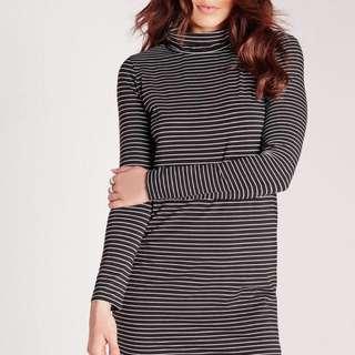 Long Sleeve Roll Neck Stripe Swing Dress