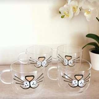 Cat Face Glass Mugs
