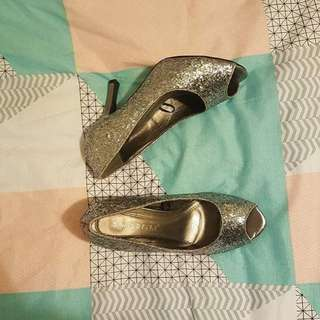 Wildfire Silver Sparkly Formal Heels