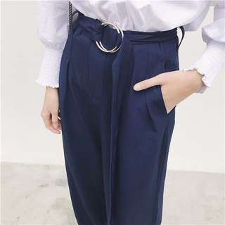 Flare Pants With D Ring Belt (navy)
