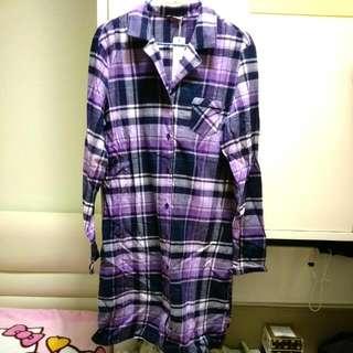 全新Esprit紫色格仔長身恤衫